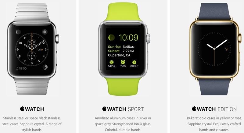 Apple Watch and Apple Watch Edition and Apple Watch Sport