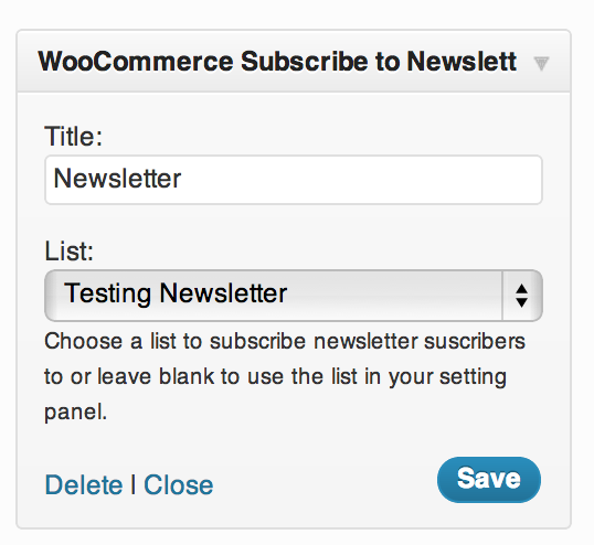 WooCommerce Newsletter Subscription Plugin Widget Options