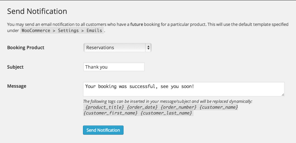 WooCommerce Bookings Plugin Email Notifications
