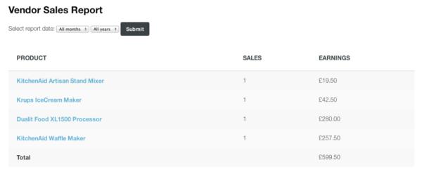 WooCommerce Product Vendors Sales Report