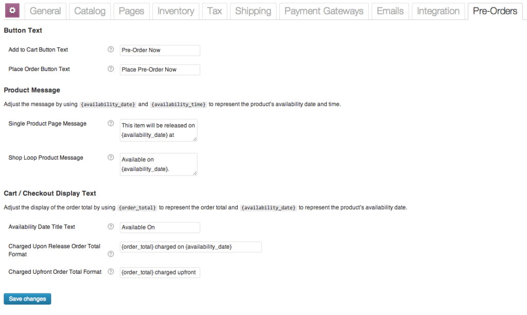 WooCommerce Pre-Orders Plugin Settings